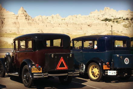 A closer look at Model A's in parking lot.